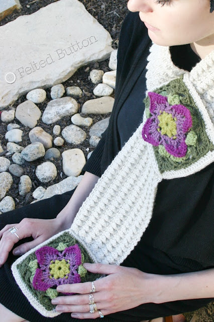 Structured Rock Cress Scarf Crochet Pattern by Susan Carlson of Felted Button