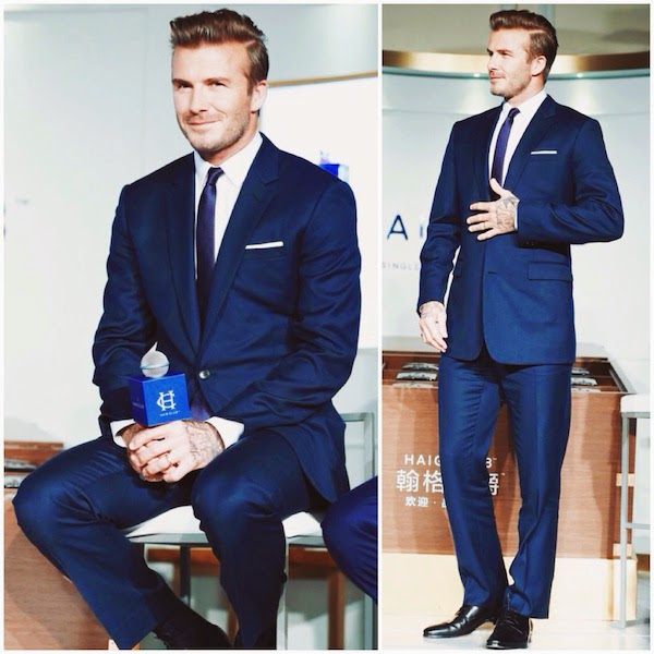 David Beckham wears Dior Homme navy blue suit at global launch of HAIG CLUB on November 6 2014 in Shanghai China