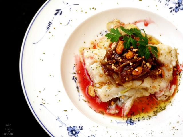 bacalao con cebolla al px con salsa de fresas, recetas con fresas