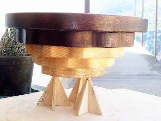 vassoio in legno massello realizzato con seghetto da traforo elettrico