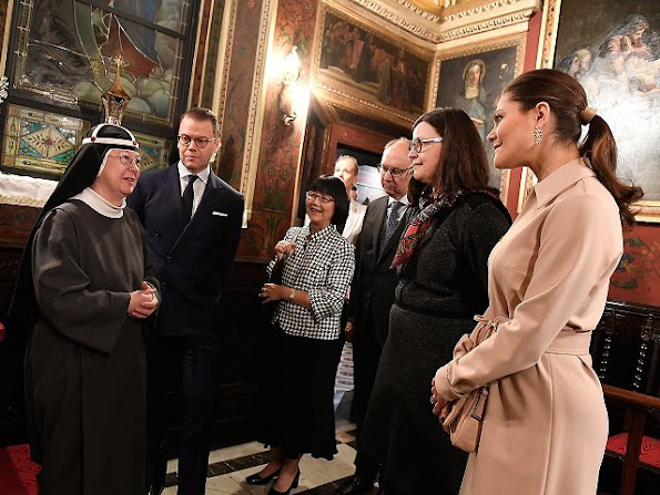 Crown Princess Victoria and Prince Daniel visited convent of the Bridgettine Sisters located in the heart of Rome in Piazza Farnese.