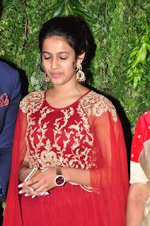 Actress Niharika Konidela Stills in Red Dress at Srija Wedding Reception  0001