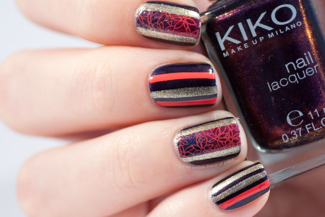 Gold and Coral Stripes Nail Art