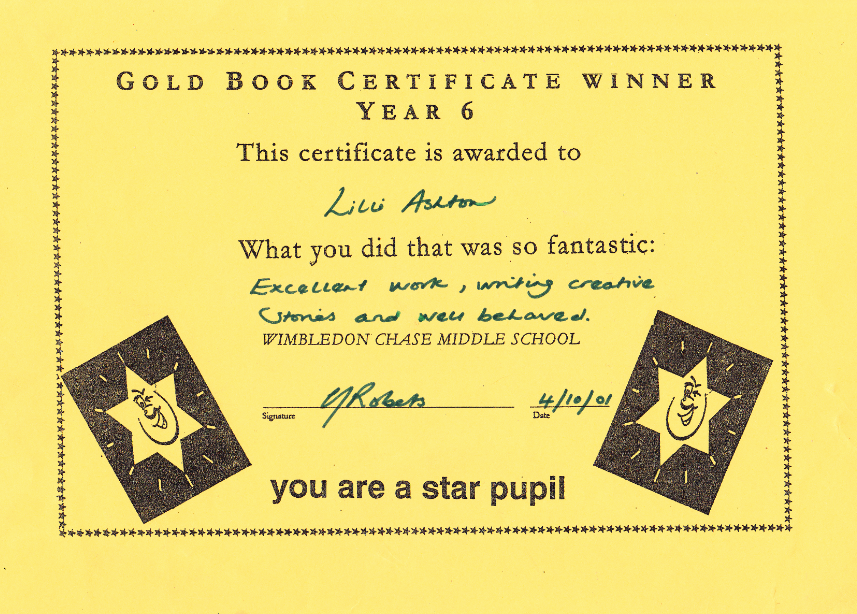 Lilly Ashton My School Certificates – Merit Certificate Comments