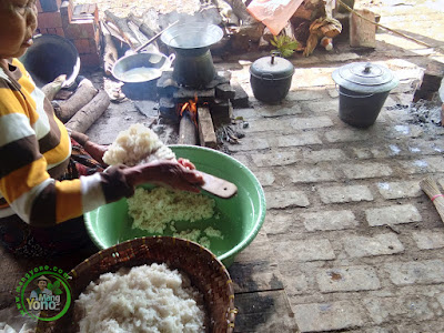 Nasi ketan untuk adonan opak.
