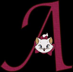 Abecedario con Gatita Marie. Marie Aristocats Alphabet.