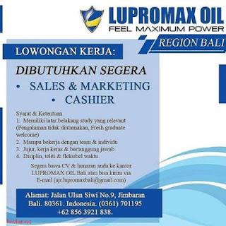 Lowongan Kerja di Lupromax Oil Region Bali, Tersedia 2 Posisi