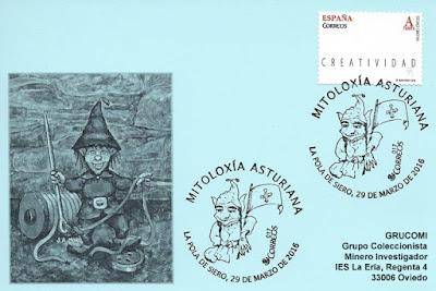 Tarjeta de Grucomi con el matasellos de mitología asturiana, El Ventolín 2016