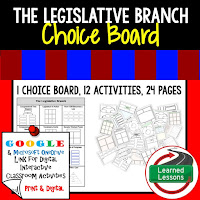 Civics and Government Digital Learning Choice Boards, Google Lessons, Legislative Branch