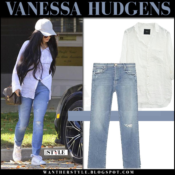 Vanessa Hudgens in white rails charli shirt, ripped mother jeans and white sneakers what she wore march 2017
