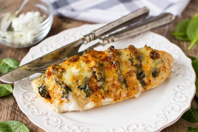 SPINACH + GOAT CHEESE HASSELBACK CHICKEN RECIPE