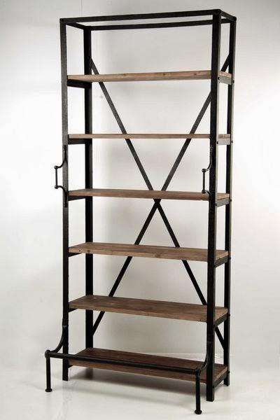 estanteria forja y madera, estanteria libros, estanteria de pie