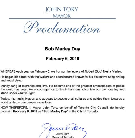 February 6th officially declared as 'Bob Marley' Day in Toronto