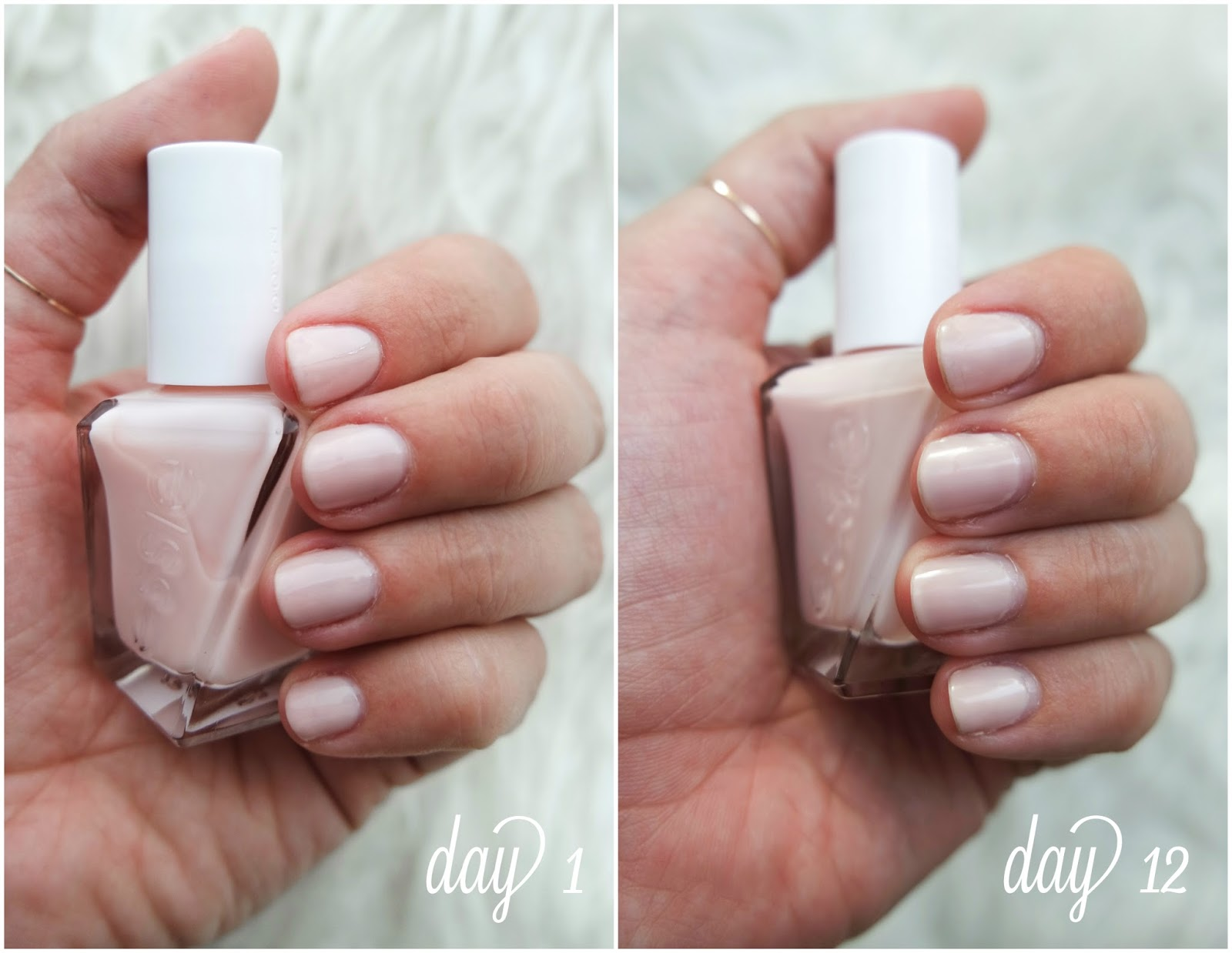 essie fairy tailor; essie gel couture line before and after; essie gel couture review