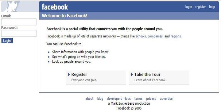 Facebook in January 2007