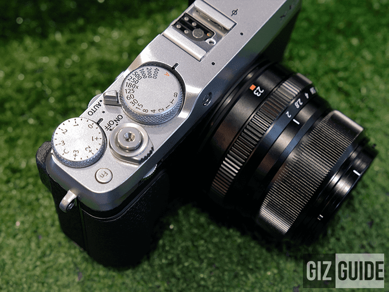 Exposure compensation dial, command dial, power switch, shutter speed dial, full auto switch and autofocus assist lamp