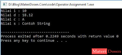 Contoh program operator assignment