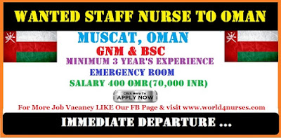 WANTED STAFF NURSE TO OMAN