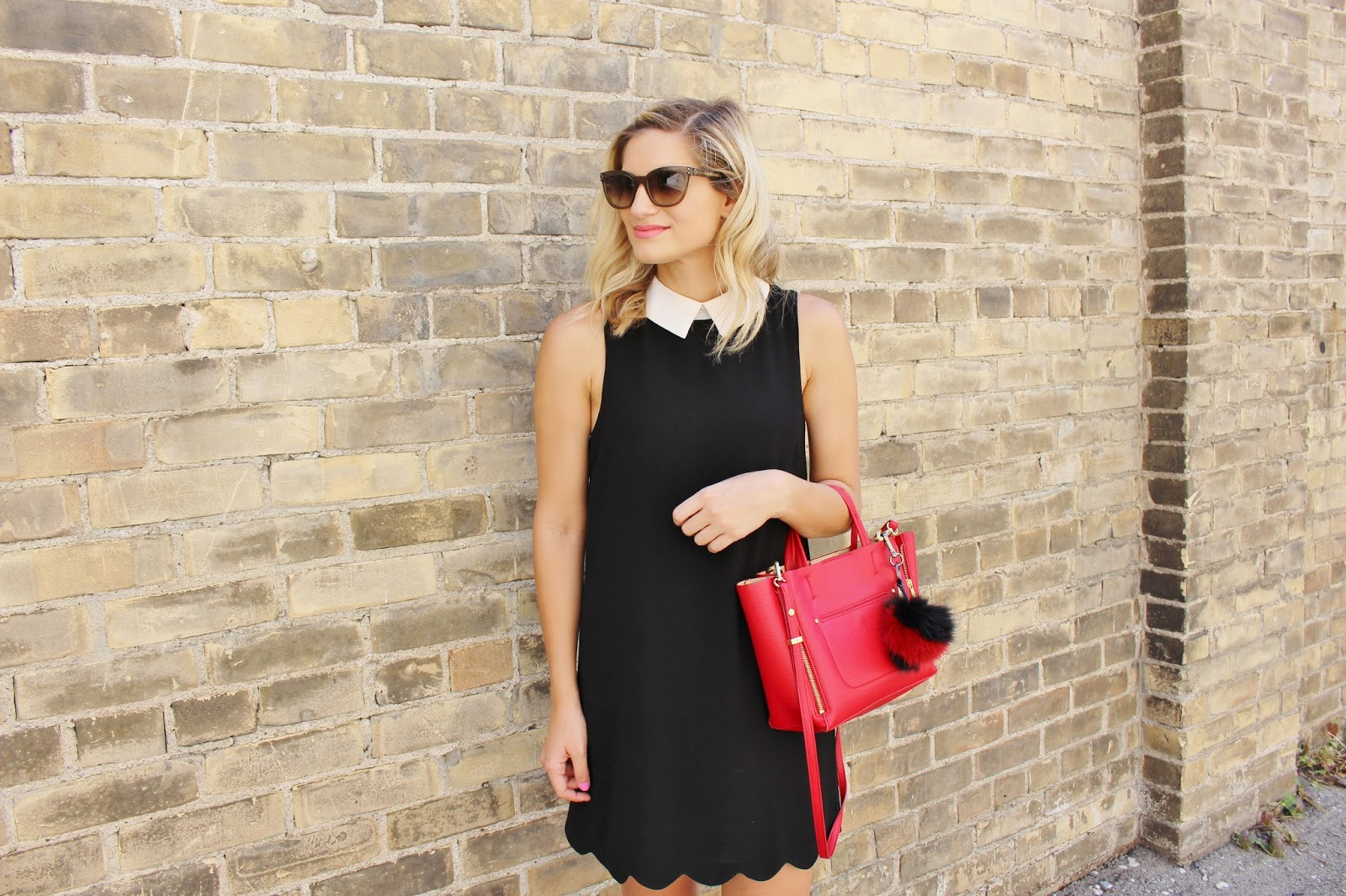Bijuleni- Preppy peter pan collar black dress, red Ann Taylor tote and Celine sunglasses
