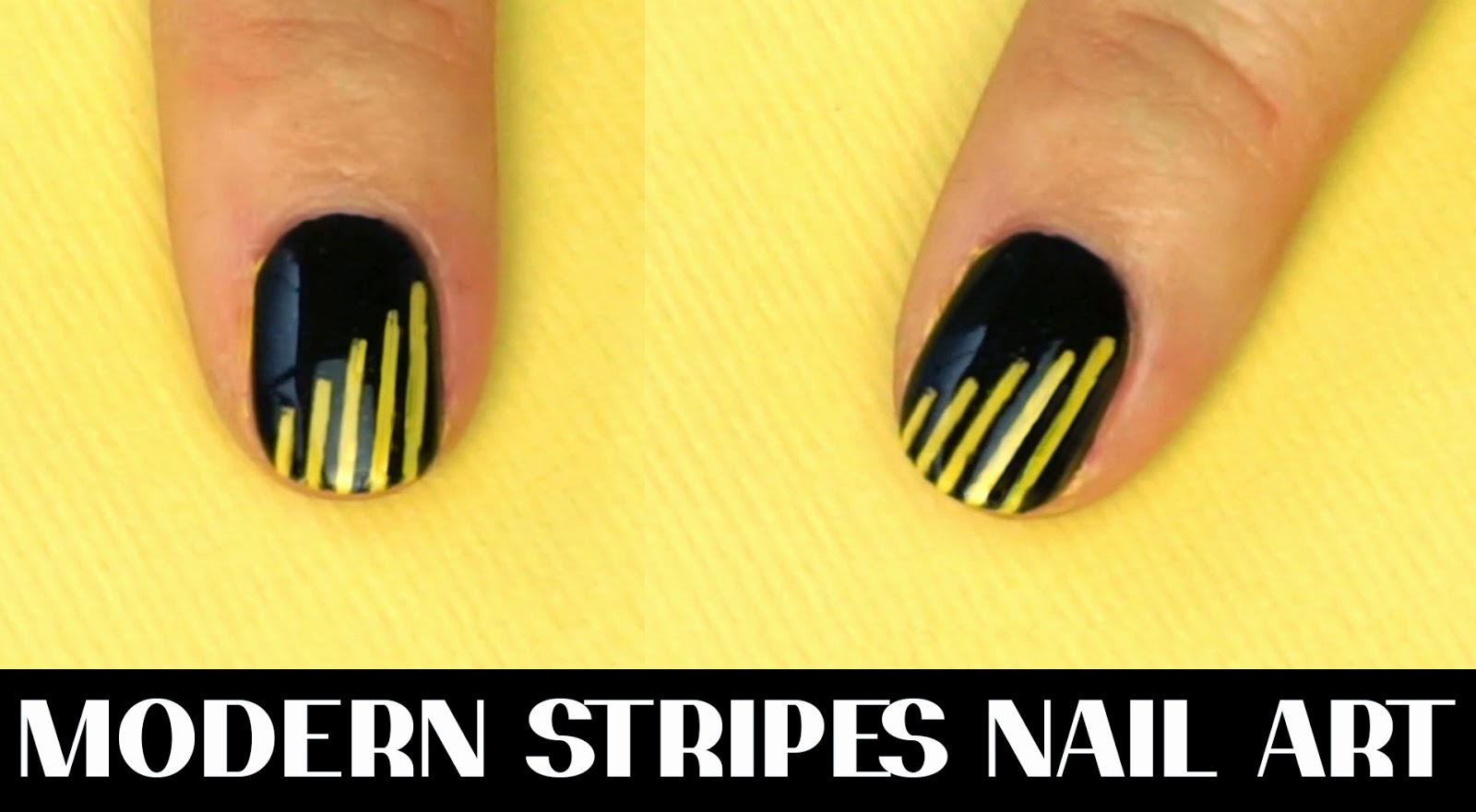 Black and Yellow Stripes nails tutorial I Futilities And More