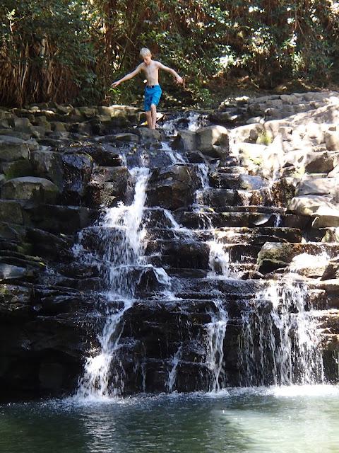 Charlie on waterfall