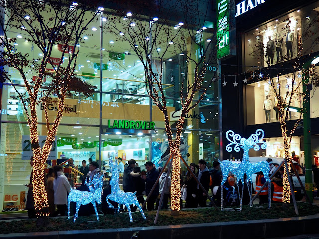Trees and reindeer as part of the Christmas lights in Nampo, Busan, South Korea