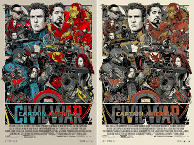 Captain America Civil War Screen Print by Tyler Stout x Mondo x Marvel - Regular & Variant Editions