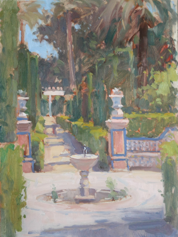 Garden Fountain With Urns, Royal Palace Of Alcazar' (10x14in, Oil On