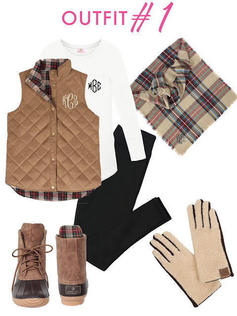 vest and duck boots and leggings and scarf and gloves