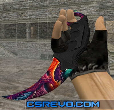 Skin Knife - Karambit Hyper Beast (CS:GO) HD para CS 1.6