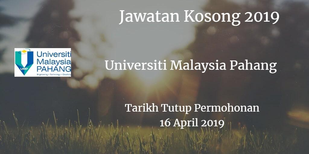 Jawatan Kosong UMP 16 April 2019