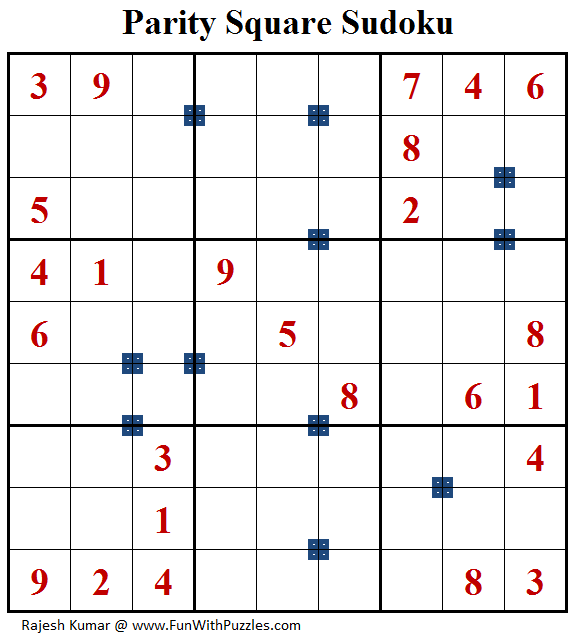 Parity Square Sudoku (Fun With Sudoku #159)