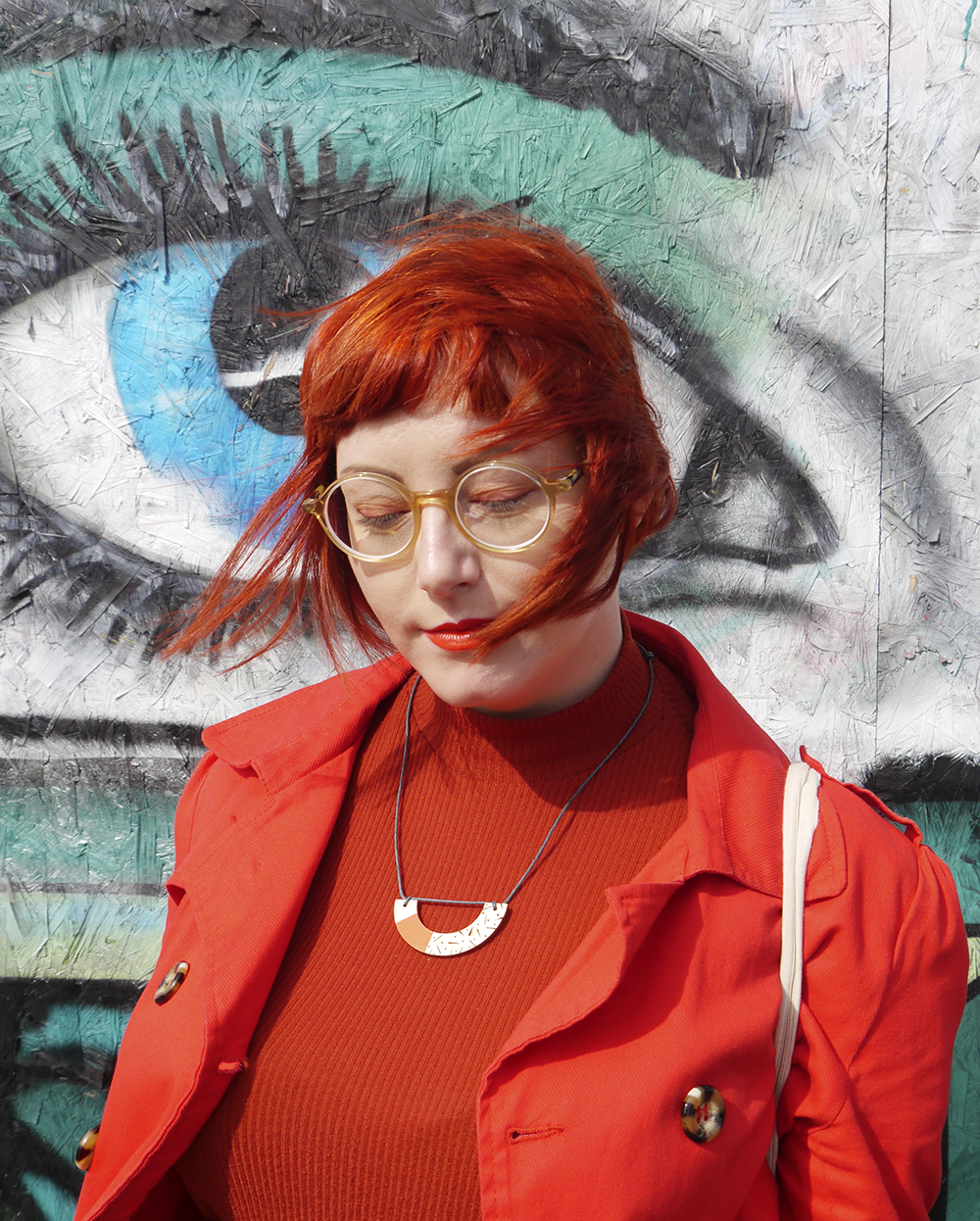 Dundee style blogger Helen from Wardrobe Conversations wear CrossEyes glasses with red eye make up and red and orange outfit