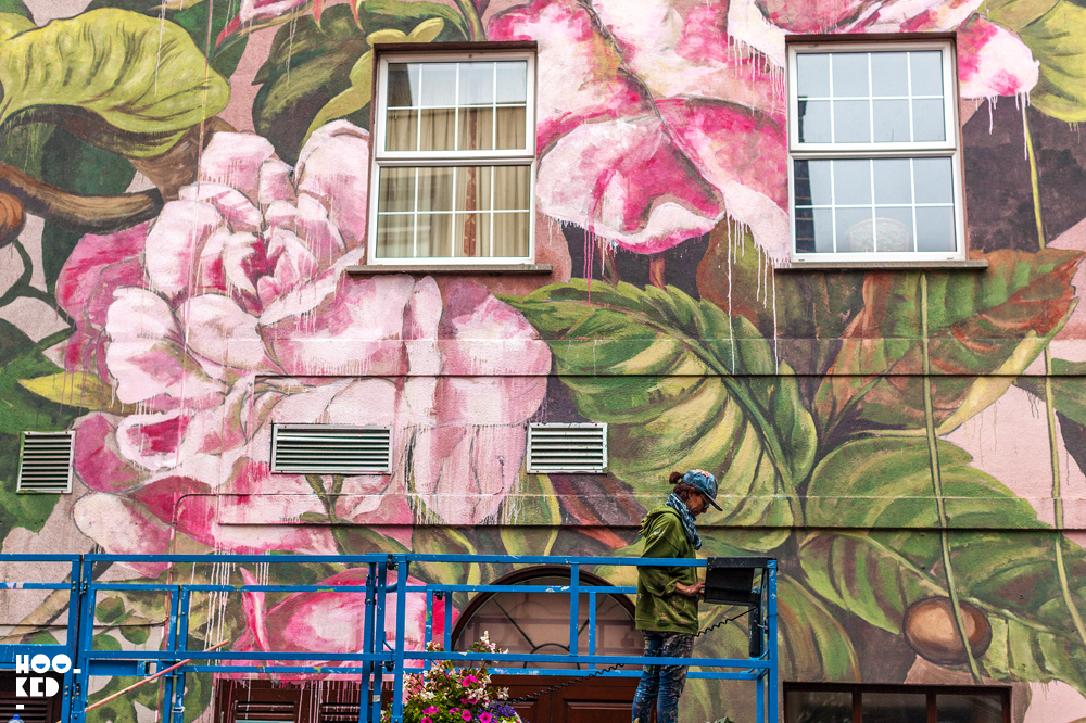 Spanish Street Artist Lula Gone at work on her Waterford Mural.