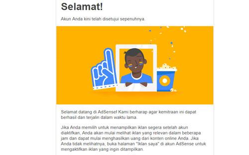 Halaman pemberitahuan jika aplikasi kamu diterima oleh Google Adsense akan menerima email seperti ini