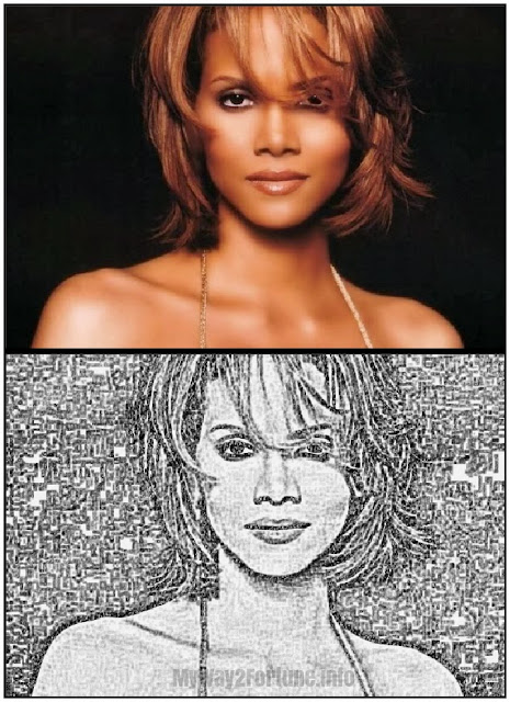 Halle Berry before and after sketch
