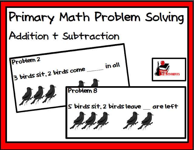 Free primary math problem solving center for addition and subtraction. Pictoral clues and patterns help non-readers. Free download from Raki's Rad Resources