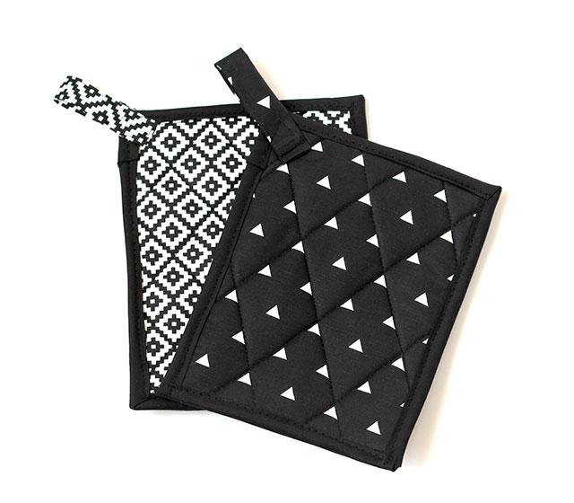 Black & white homemade pot holders
