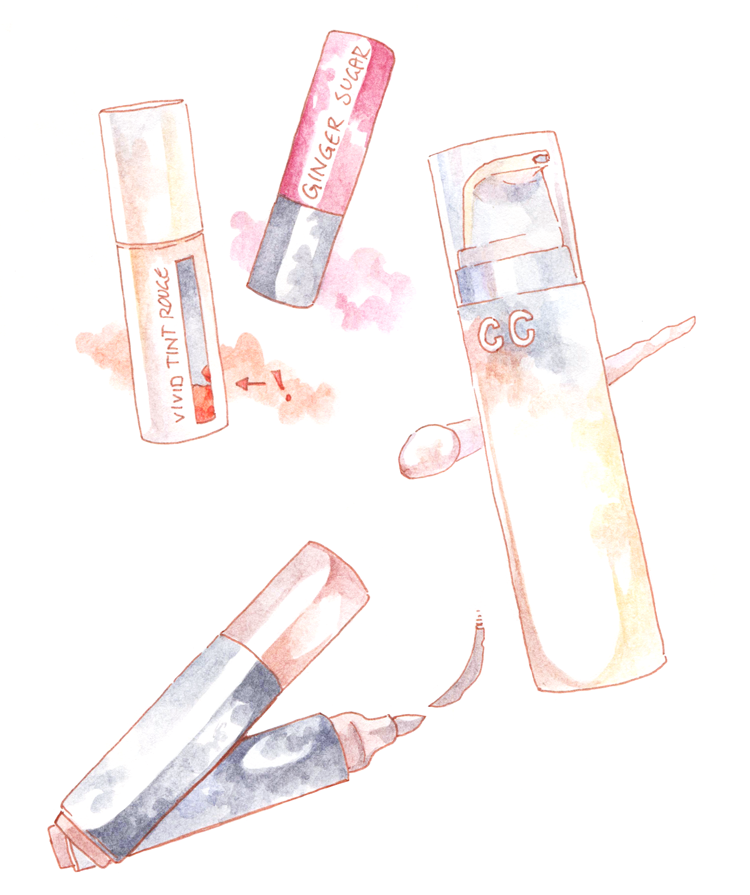 Watercolor Illustration Innisfree Vivid Tint Rouge Aritaum Sugar Tint Balm CC Cream Clio Kill Brow Korean Makeup