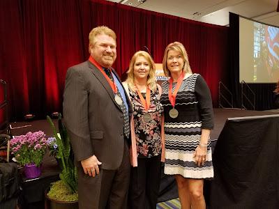 Photo of Rick Kemp, Jennifer Shantz and Angelz Felix at 2017 League of Innovation ceremony.