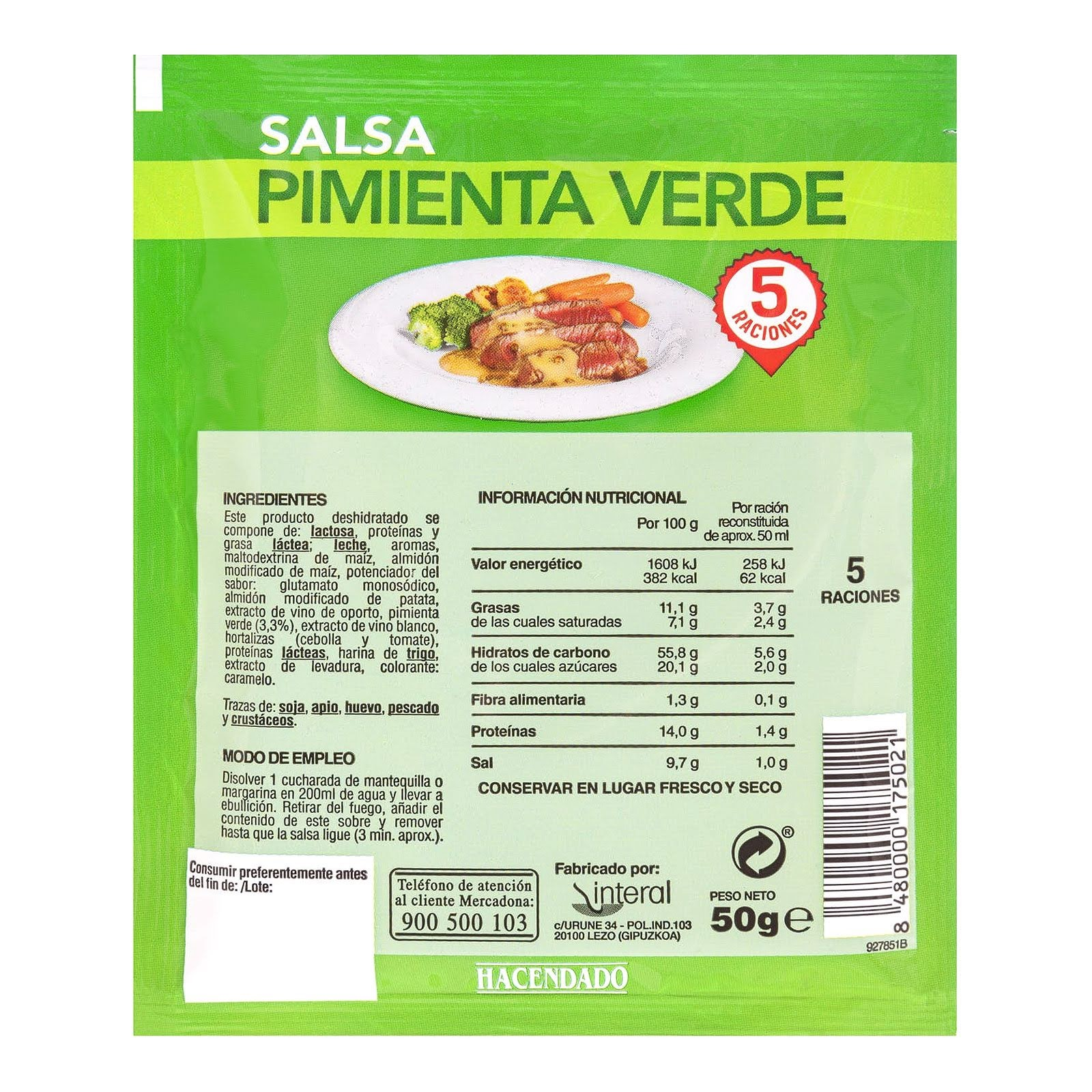 Salsa deshidratada pimienta verde Hacendado