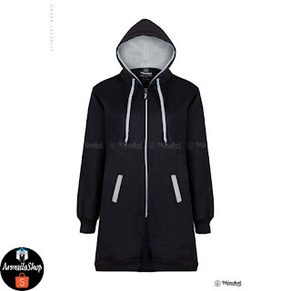 HJ14 Hijacket BASIC Black x Grey ORIGINAL PREMIUM FLEECE JAKET HIJAB JAKET MUSLIMAH
