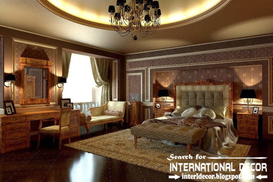 classic English style in the interior, English luxury bedroom decor and furniture