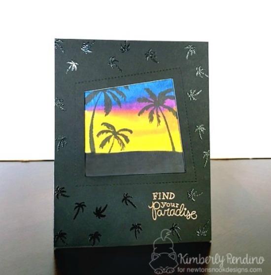Palm Tree Sunset Card by Kimberly Rendino | Paradise Palms stamp set by Newton's Nook Designs #newtonsnook