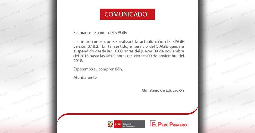 SIAGIE COMUNICADO: Suspensión del Servicio el Jueves 8 y Viernes 9 Noviembre - MINEDU - www.siagie.minedu.gob.pe
