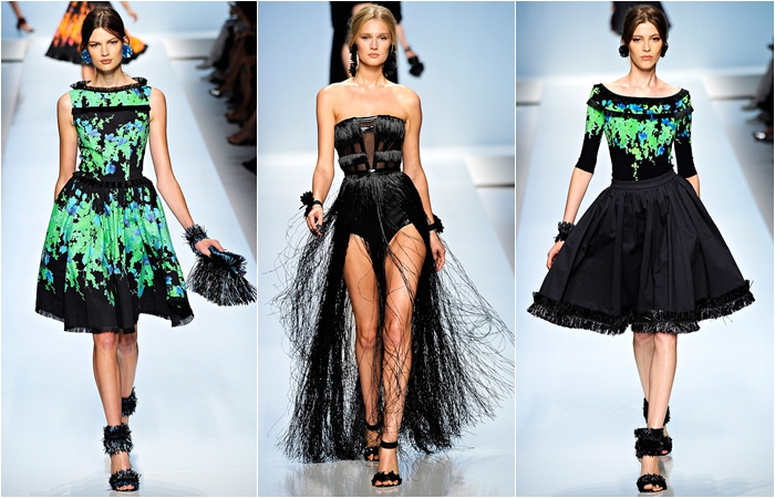 Blumarine spring 2012 black and green dresses