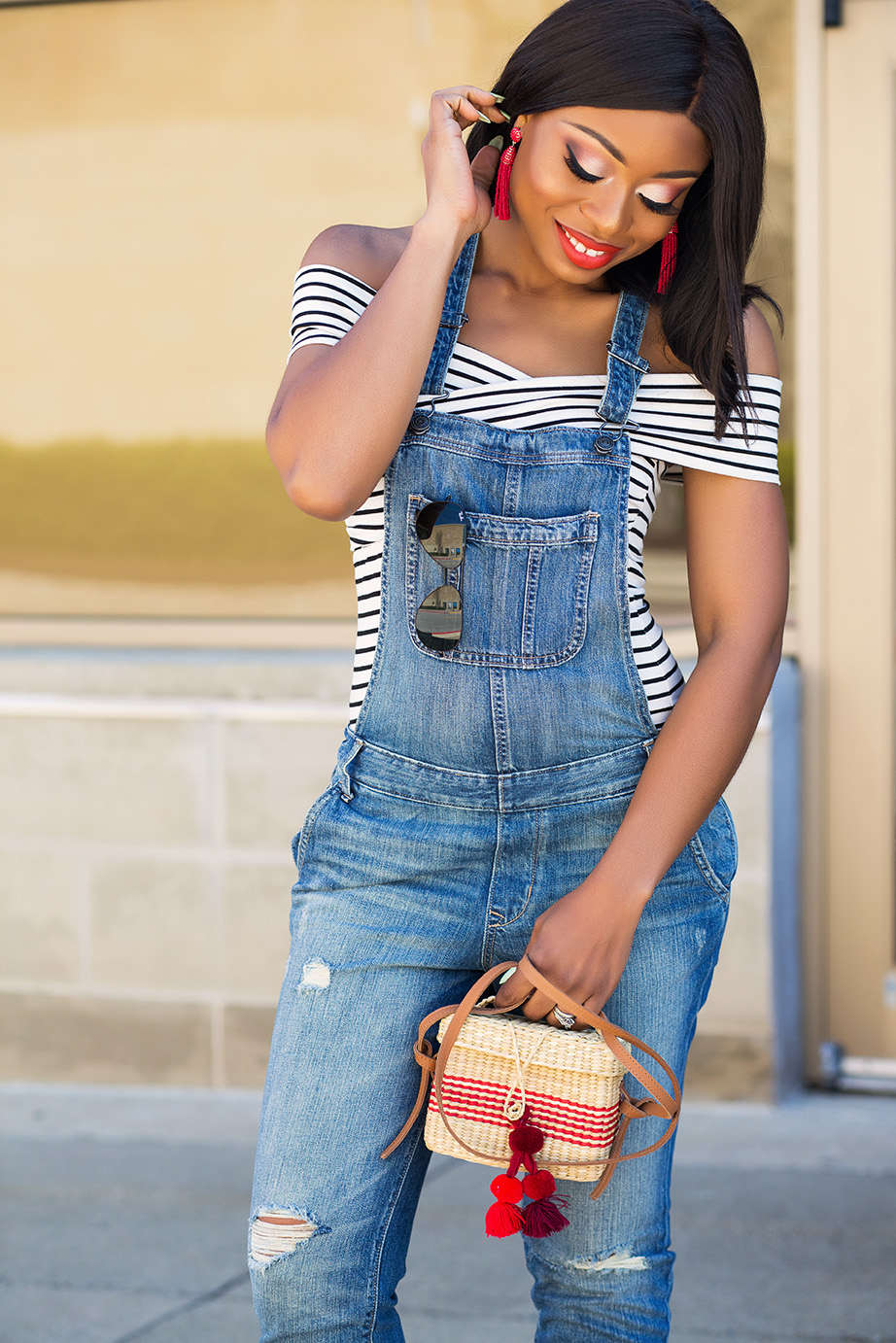 denim overall, Nannacay straw bag, www.jadore-fashion.com