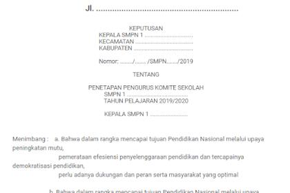 SK Komite Sekolah Untuk SD SMP SMA SMK Tahun 2019/2020