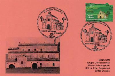 Tarjeta con el matasellos de presentación del sello del Conventín de Valdediós