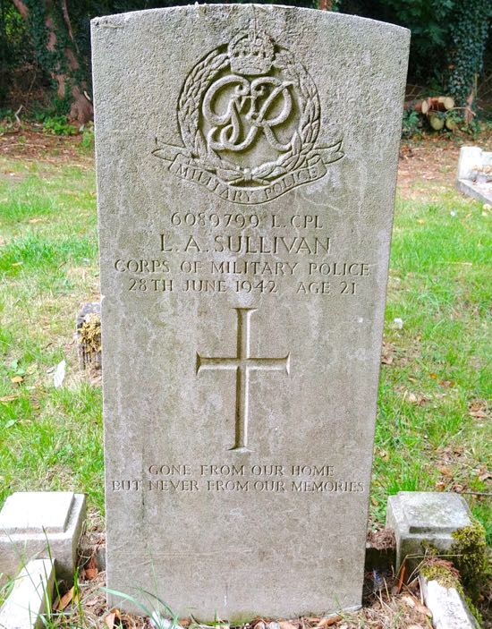 Photograph of The grave of Lance Corporal, Leslie Alfred Sullivan Image by the North Mymms History Project, released under Creative Commons BY-NC-SA 4.0